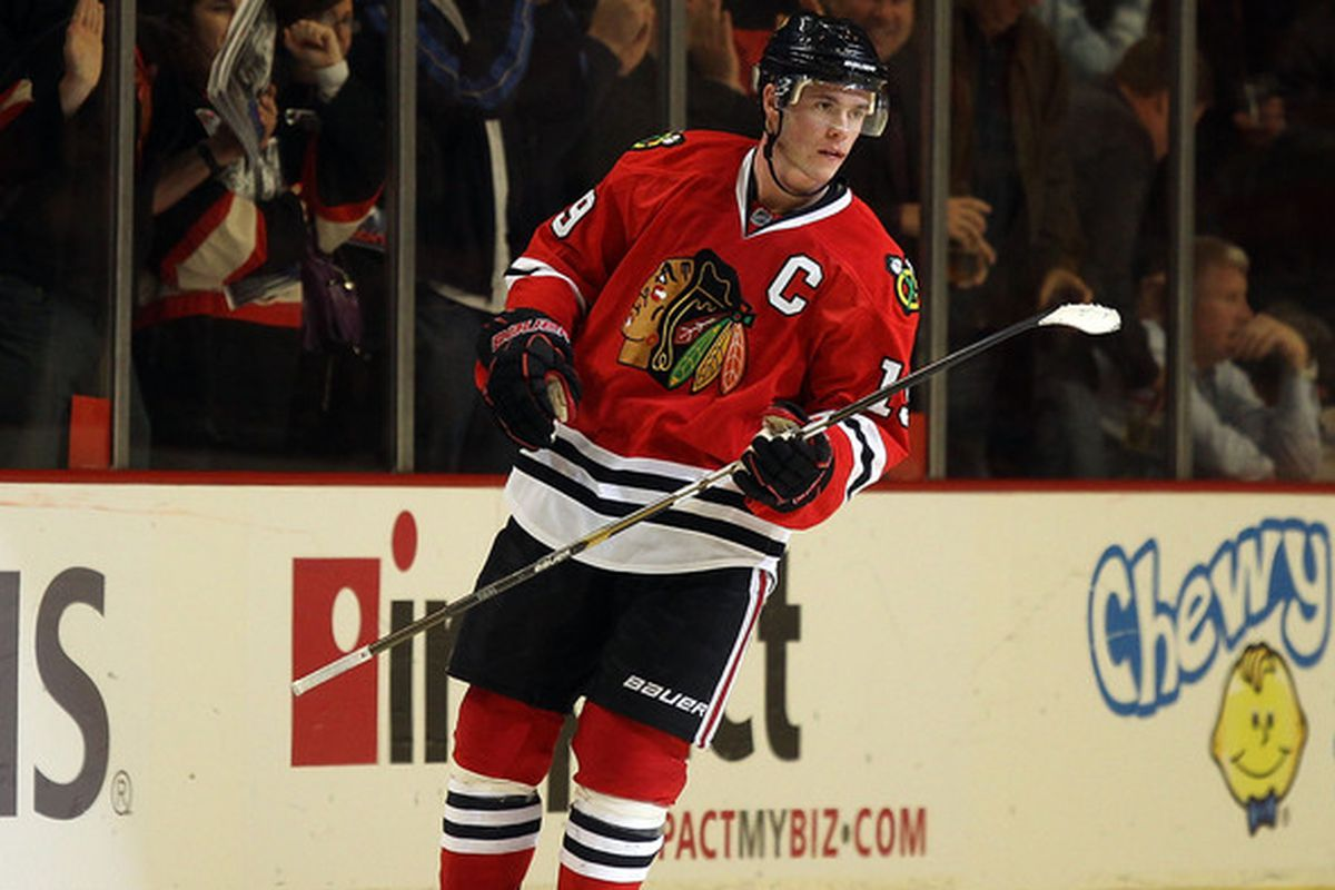 Former North Dakota star and two-time Stanley Cup champion Jonathan Toews in action for the Chicago Blackhawks.