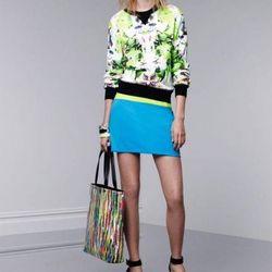 Sweatshirt in First Date print, $29.99; pencil skirt in Dresden blue, $29.99; tote in Nolita print, $39.99; bangles, $16.99 each; wedge sandals, $29.99