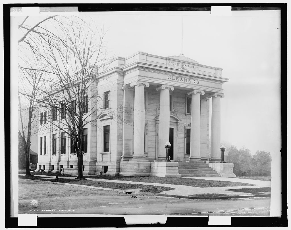 A vintage black and white photograph of Gleaner's Temple in Detroit.