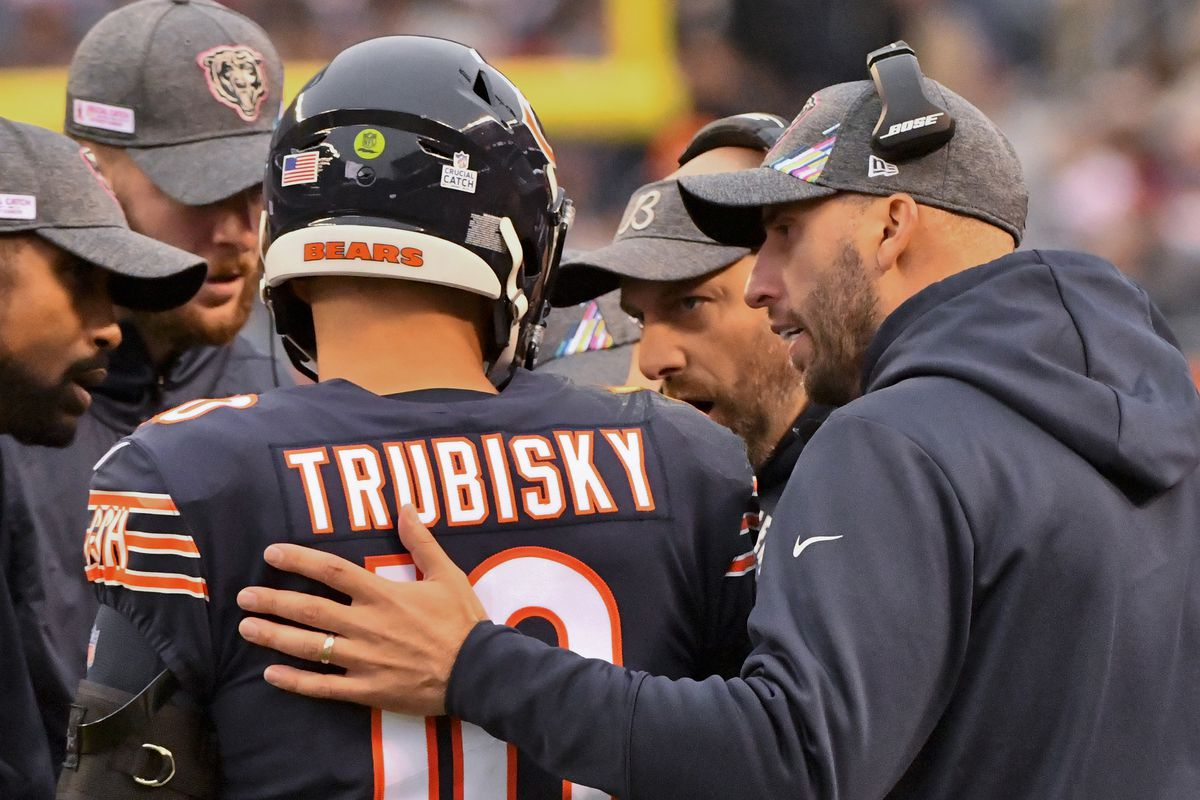 Chicago Bears quarterback Mitchell Trubisky (10) talks with Chicago Bears head coach Matt Nagy, center, against the New Orleans Saints during the second half at Soldier Field.