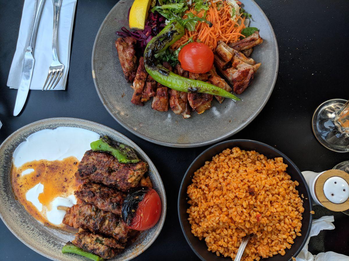 Yogurtlu kebabs at Likya, a Turkish ocakbasi restaurant in Golders Green, London