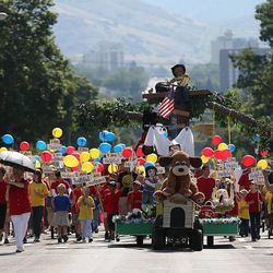 Granger North Stake float in the Days of '47 Youth Parade in Salt Lake City on Saturday, July 20, 2013.