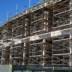 Scaffolding just to the east of the main entrance