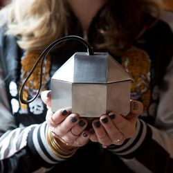Persephoni stainless steel clutch, $350