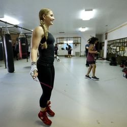 Boxer Whitney Gomez jumps rope as she works out at Fullmer Brothers Boxing Gym in South Jordan on Wednesday, June 7, 2017.