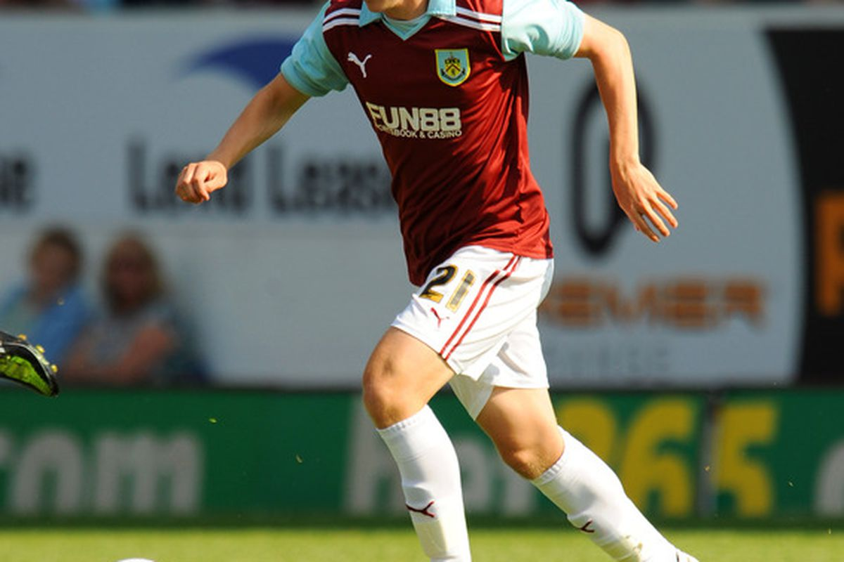 BURNLEY, UNITED KINGDOM - JULY 30: Joe McKee of Burnley in action during the pre season friendly match between Burnley and Sunderland at Turf Moor on July 30, 2011 in Burnley, England. (Photo by Clint Hughes/Getty Images)