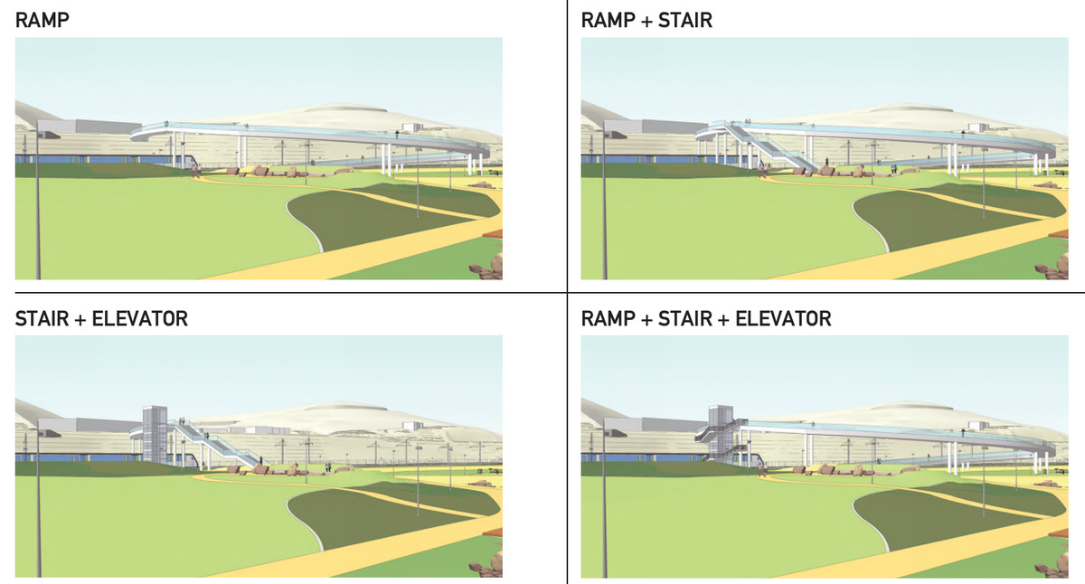 A rendering of a ramp-style bridge, one that includes a ramp and stairs, one that involves stairs and an elevator, and one that unites stairs, a ramp, and an elevator.