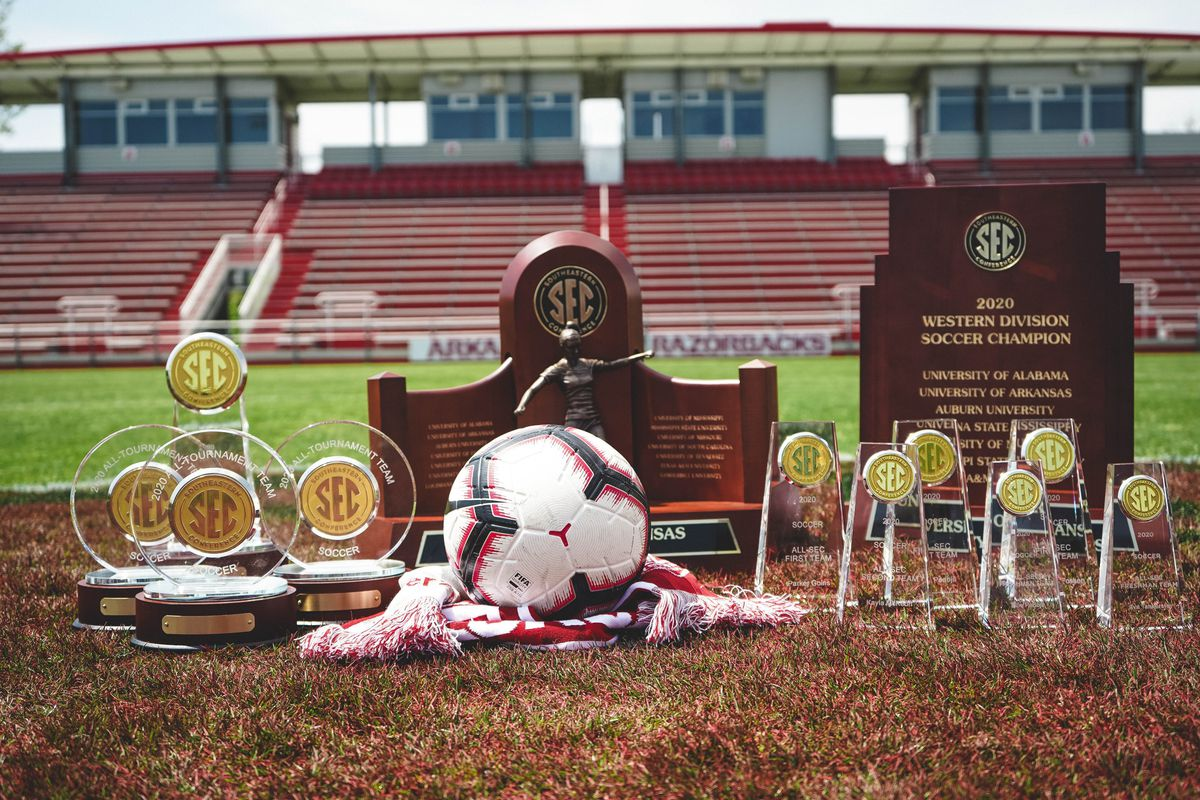 The trophies awarded during the 2020-21 soccer season on display at Razorback Field.