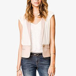 """<strong>Forever 21</strong> Luxe Colorblocked Twill Vest, <a href=""""http://www.forever21.com/Product/Product.aspx?BR=f21&Category=outerwear_vests&ProductID=2000037937&VariantID="""">$24.80</a>"""