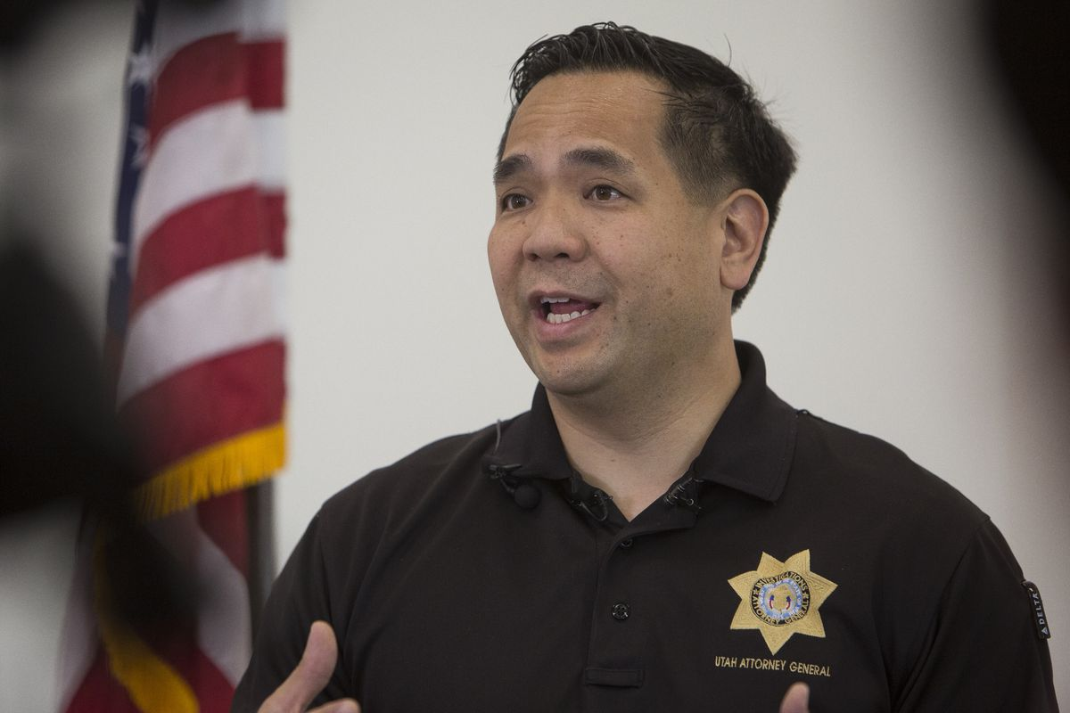 Utah Attorney General Sean Reyes talks to members of the media regarding the opioid epidemic during a roundtable discussion at Jordan Academy for Technology & Careers South Campus on Monday, May 21, 2018, in Riverton.