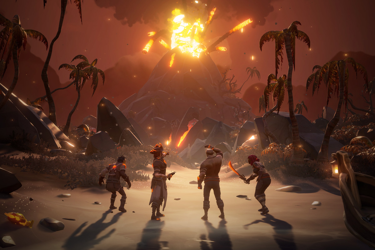 A volcano violently explodes in the new region of Devil's Roar in Sea of Thieves: Forsaken Shores