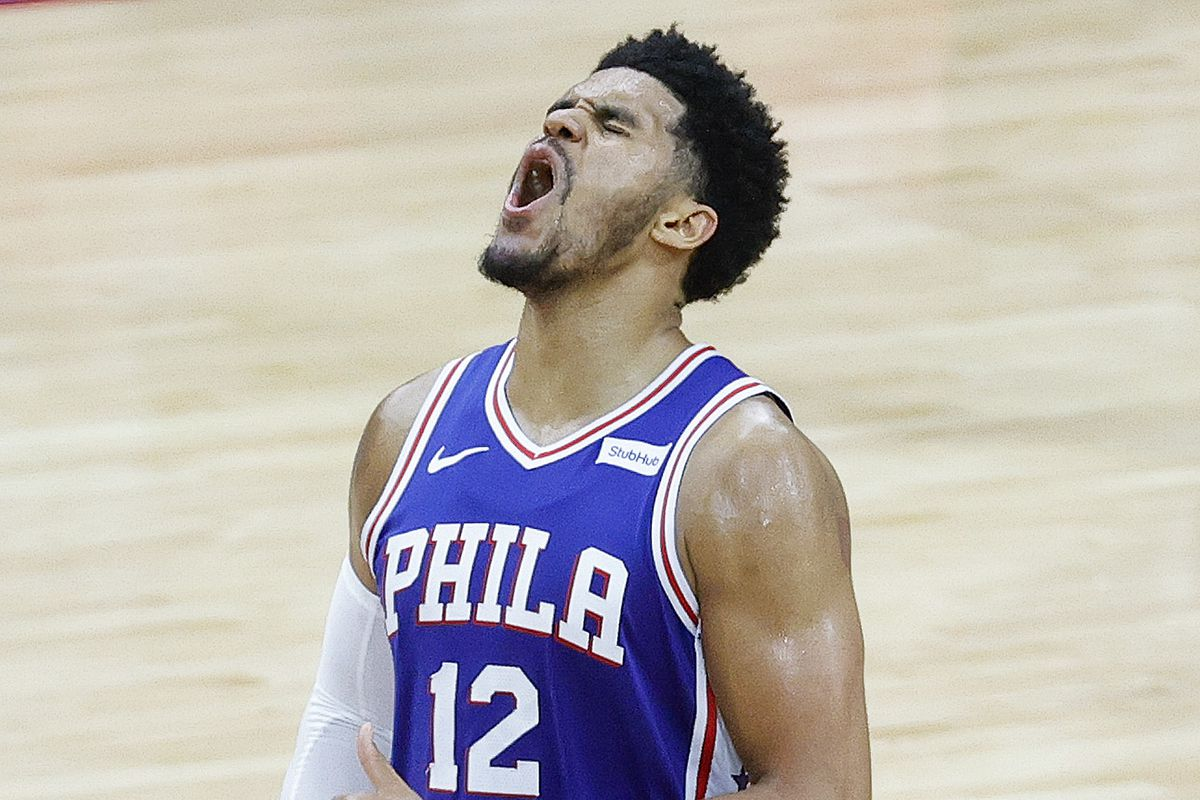 Tobias Harris #12 of the Philadelphia 76ers celebrates during the fourth quarter against the Washington Wizards during Game Five of the Eastern Conference first round series at Wells Fargo Center on June 2, 2021 in Philadelphia, Pennsylvania.