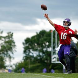 Jul 27, 2013; Mankato, MN, USA; Minnesota Vikings quarterback Matt Cassel (16) passes in drills at training camp at Blakeslee Fields. Mandatory Credit: Bruce Kluckhohn-USA TODAY Sports