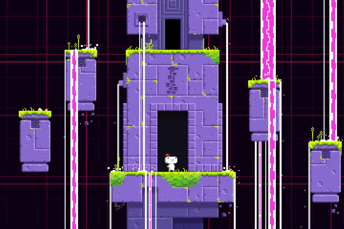 Fez protagonist Gomez stands inside the doorway of a series of purple-colored towers while pink waterfalls flow downward