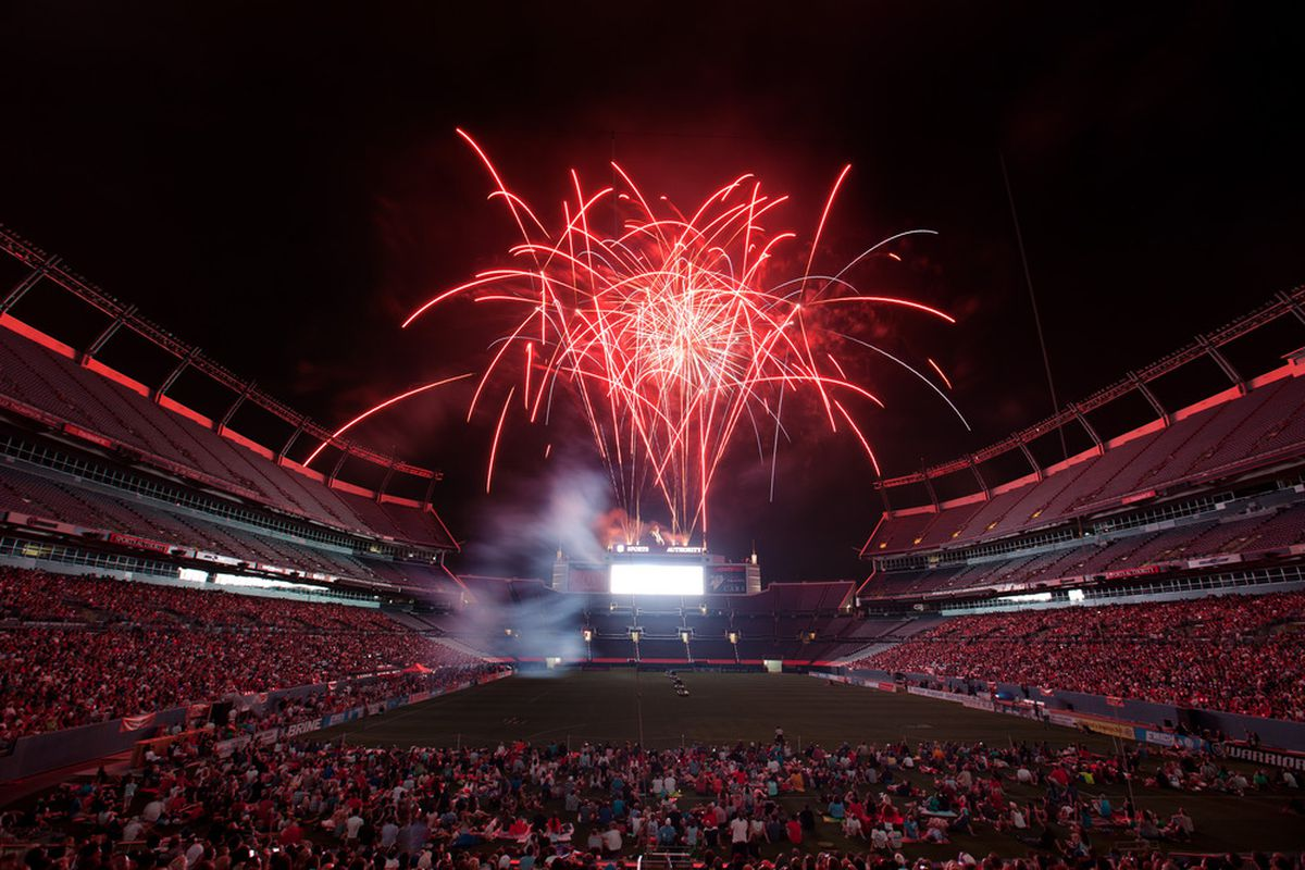DENVER, CO:  Fans are treated to a fireworks display after a Major League Lacrosse game between the Ohio Machine and Denver Outlaws at Sports Authority Field at Mile High in Denver, Colorado.   (Photo by Justin Edmonds/Getty Images)