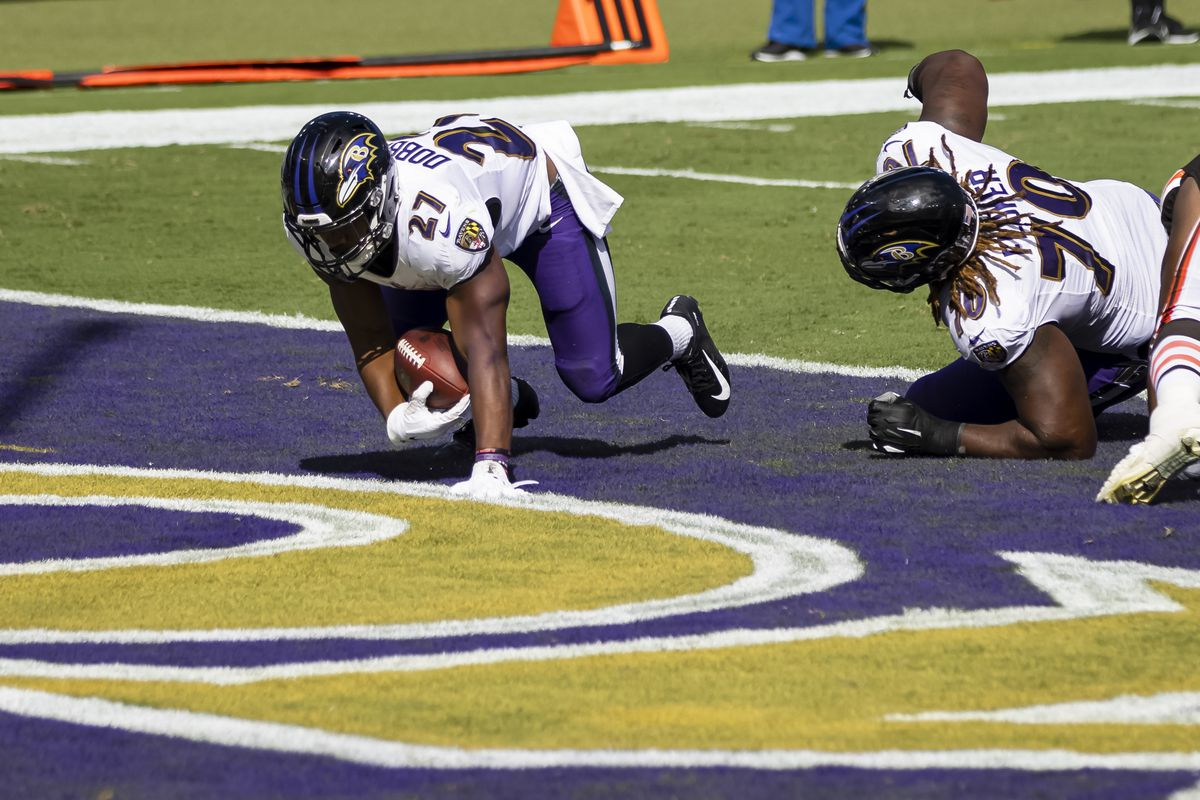 J.K. Dobbins of the Baltimore Ravens scores a touchdown against the Cleveland Browns during the second half at M&T Bank Stadium on September 13, 2020 in Baltimore, Maryland.