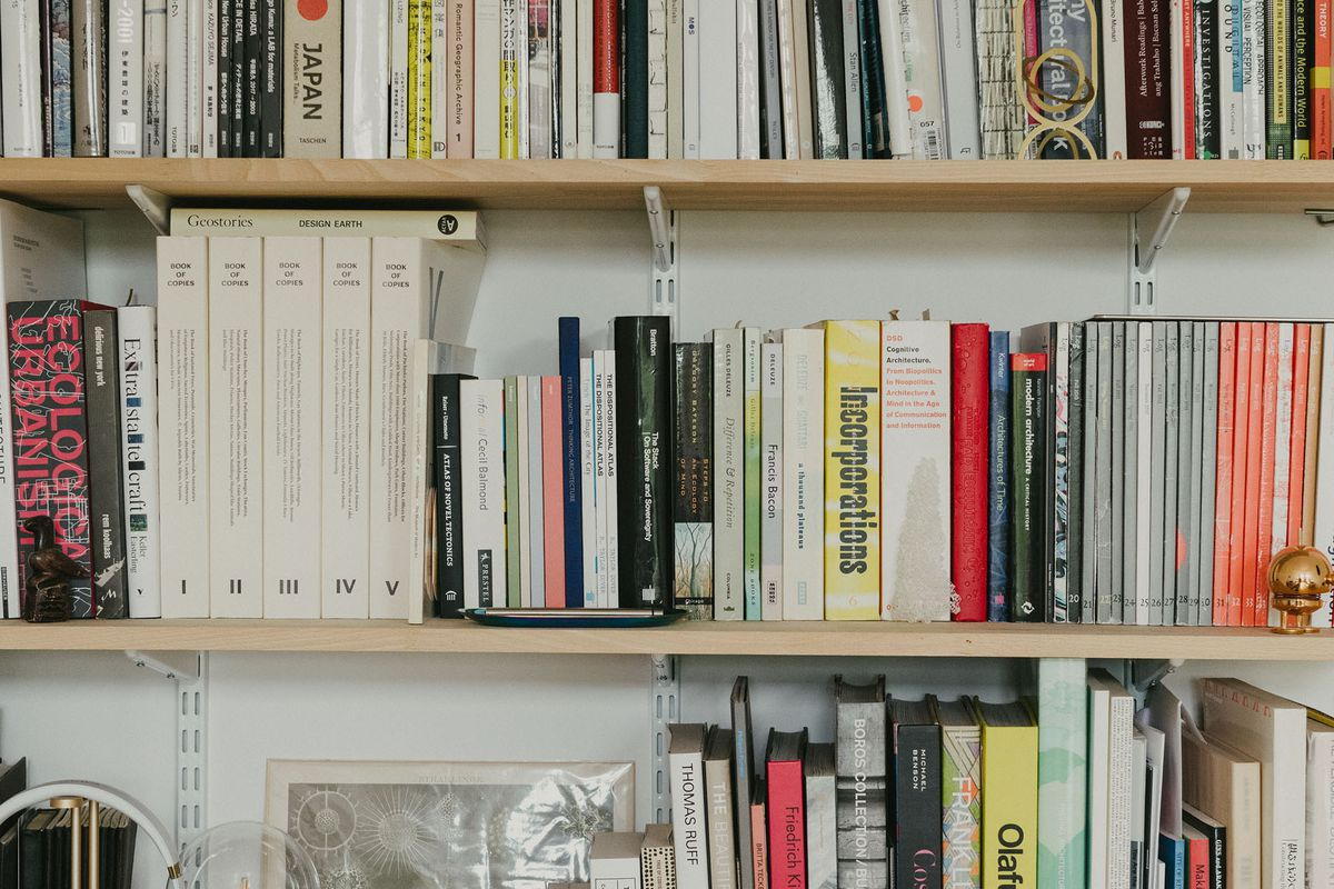 Shelves lined with books.