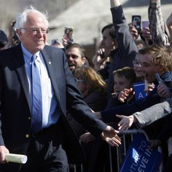Democratic presidential candidate and Vermont Sen. Bernie Sanders greets supporters before giving a speech at This is the Place Heritage Park in Salt Lake City, Friday, March 18, 2016.