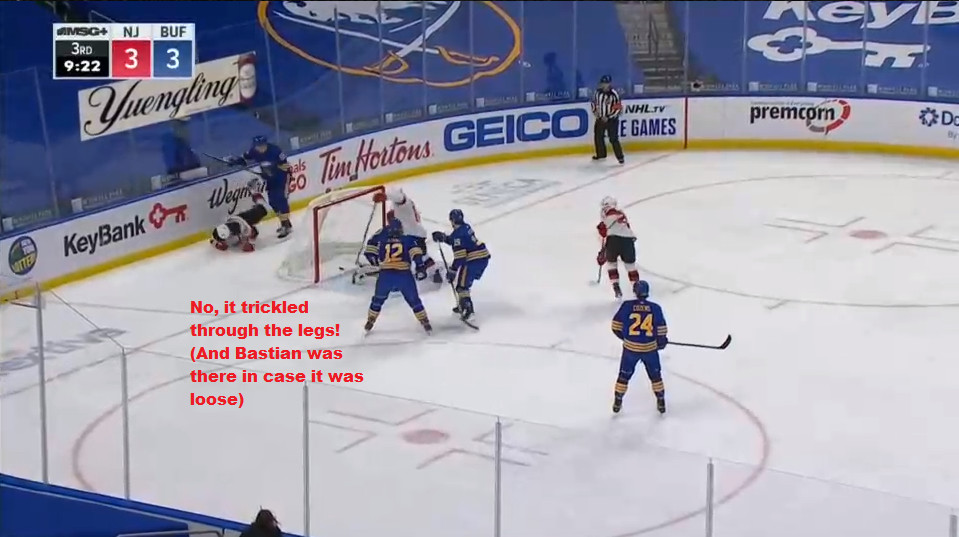 Part 11: No, Hutton did not make a save. McLeod scored.