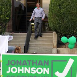 Jonathan Johnson walks out of his headquarters during an election party on Tuesday, June 28, 2016. Johnson lost his primary challenge to Gov. Gary Herbert.