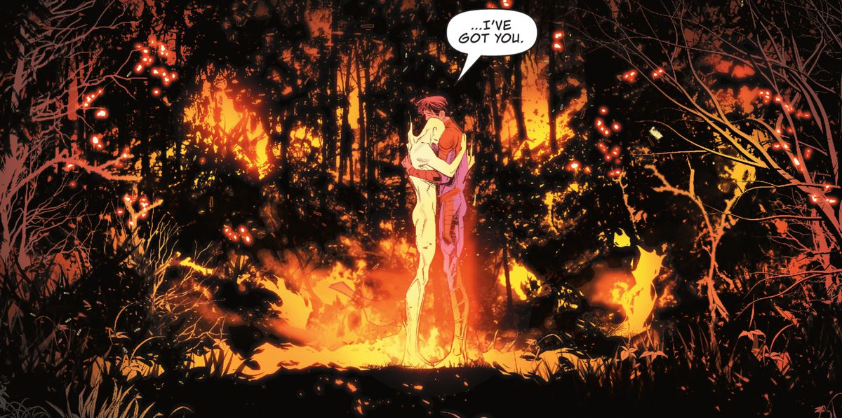 """""""I've got you,"""" Jon Kent/Superman says, hugging a flaming and naked male figure at the center of a forest fire in Superman: Son of Kal-El #1 (2021)."""