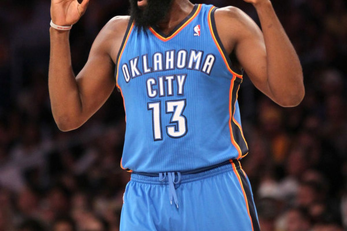 53ea0f7463ee James Harden Injury  Thunder Guard Will Not Return After Metta World Peace  Elbow