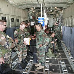 About 50 National Guard soldiers were flown from Salt Lake City to Louisiana Sunday on two C-130 transport planes.