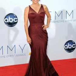 Actress Julia Louis-Dreyfus arrives at the 64th Primetime Emmy Awards at the Nokia Theatre on Sunday, Sept. 23, 2012, in Los Angeles.