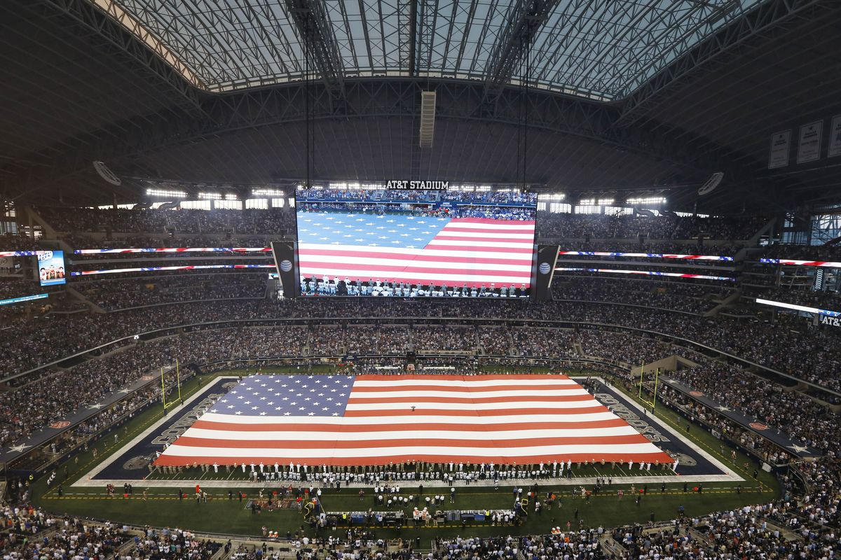 The Star Spangled Banner on display at AT&T Stadium prior to the Cowboys beating the Giants 36-31.