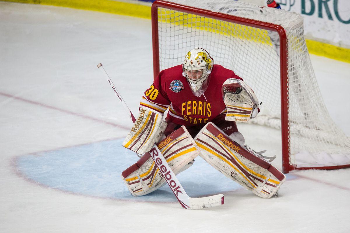 Ferris State goaltender C.J. Motte