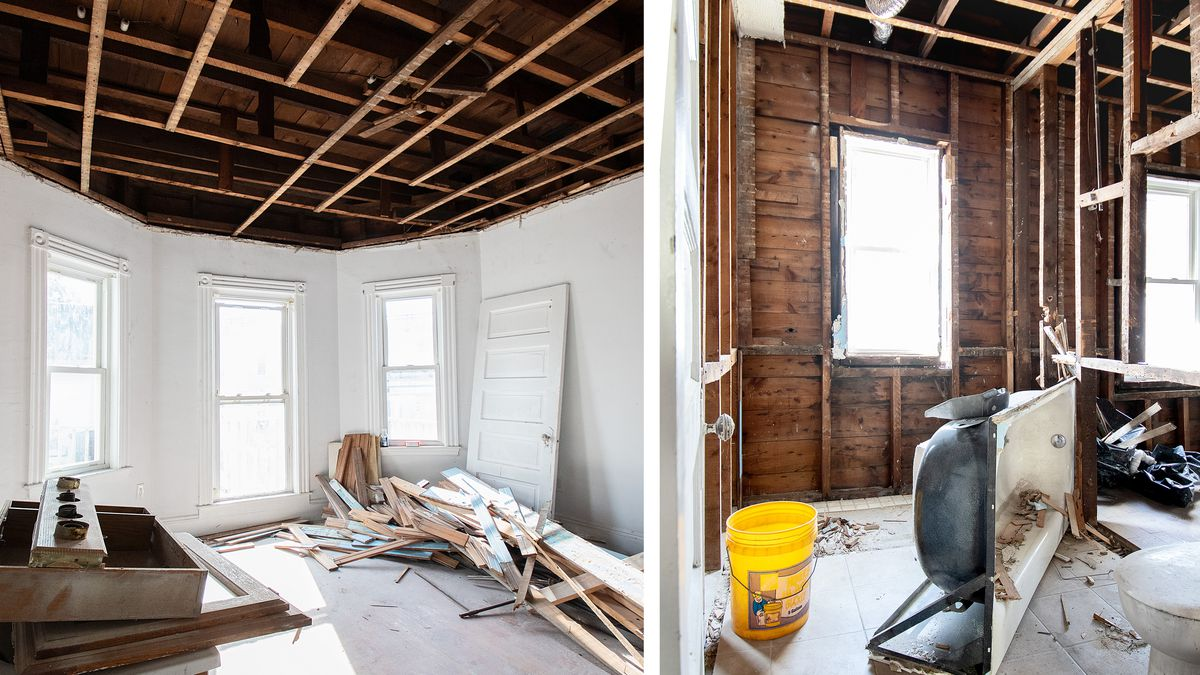 Spring 2021, Dorchester 1st look, ceiling framing and rear bathroom