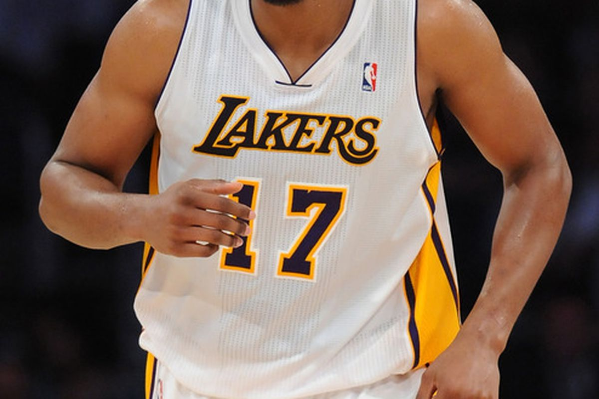 Blocked shots or three-second voilations? Only Andrew Bynum and George Karl know for sure.