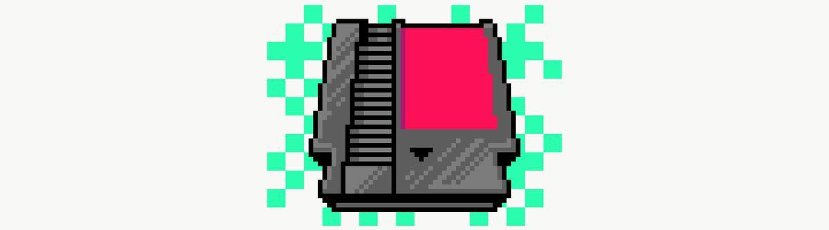 Pixel art illustration of retro game cartridge