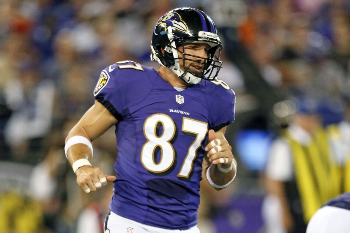 Ravens' TE Dallas Clark during a game against the Carolina Panthers.