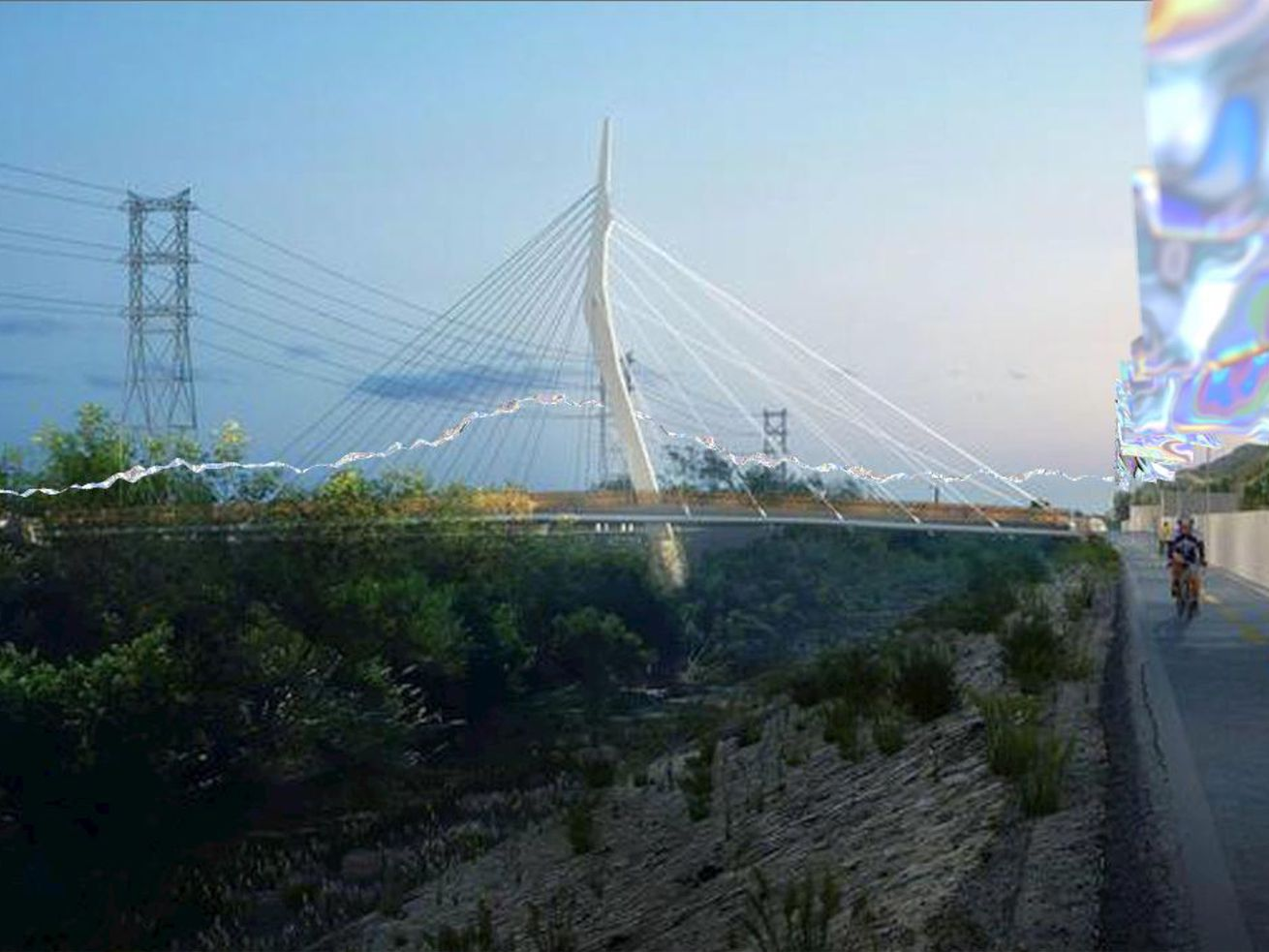 Conceptual imagery for a possible riverside public art project, referred to as LA River Skynets. The artist is seeking a site for the piece.