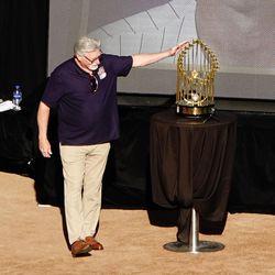 Black Jack admires the trophy his Game 7 masterpiece helped bring home