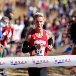 Dalton Mortensen of Bountiful takes first place in the 5A boys state cross-country championship race at Soldier Hollow in Midway on Thursday, Oct. 22, 2020.