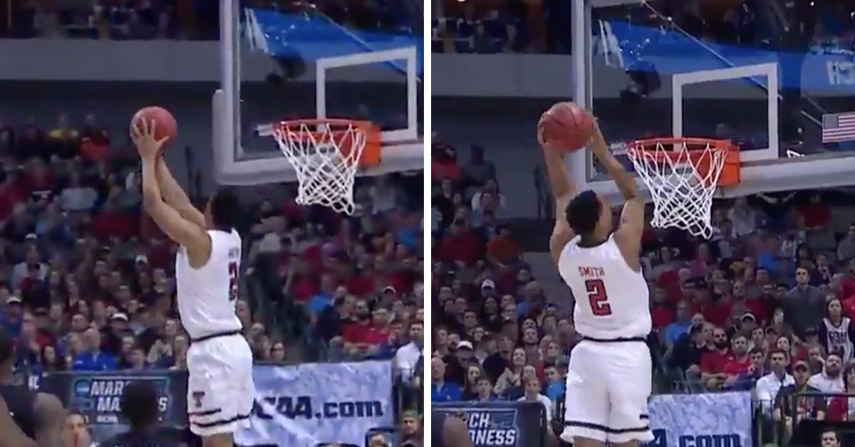 Texas Tech's Zhaire Smith catches a 360 alley-oop for March Madness' best dunk