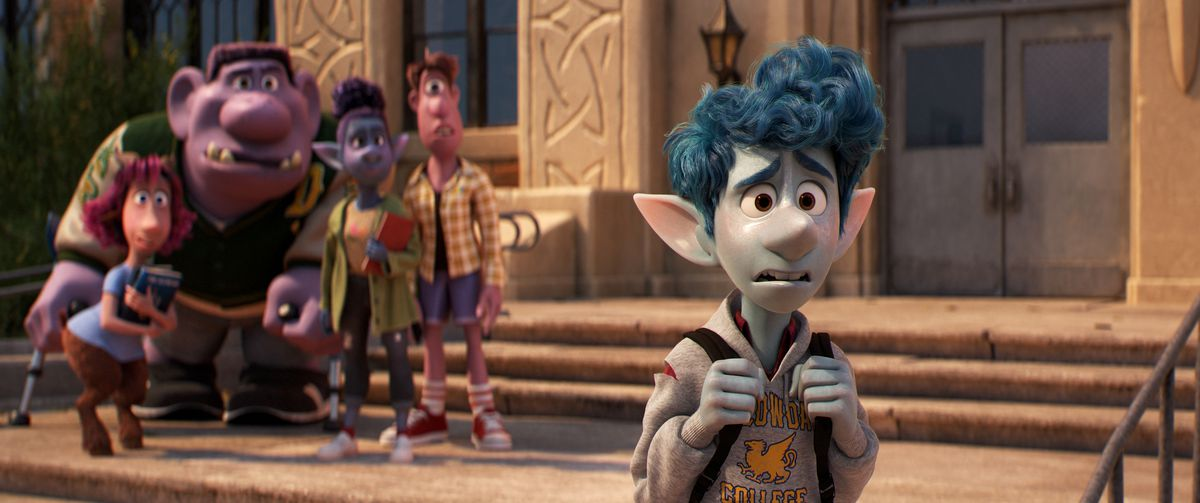 Nervous-looking, skinny blue elf Ian cringes awkwardly after badly blowing a social cue at his high school. Behind him, out of focus, some of his classmates —satyr and elf girls, a troll and cyclops boy — stand together, watching him curiously.