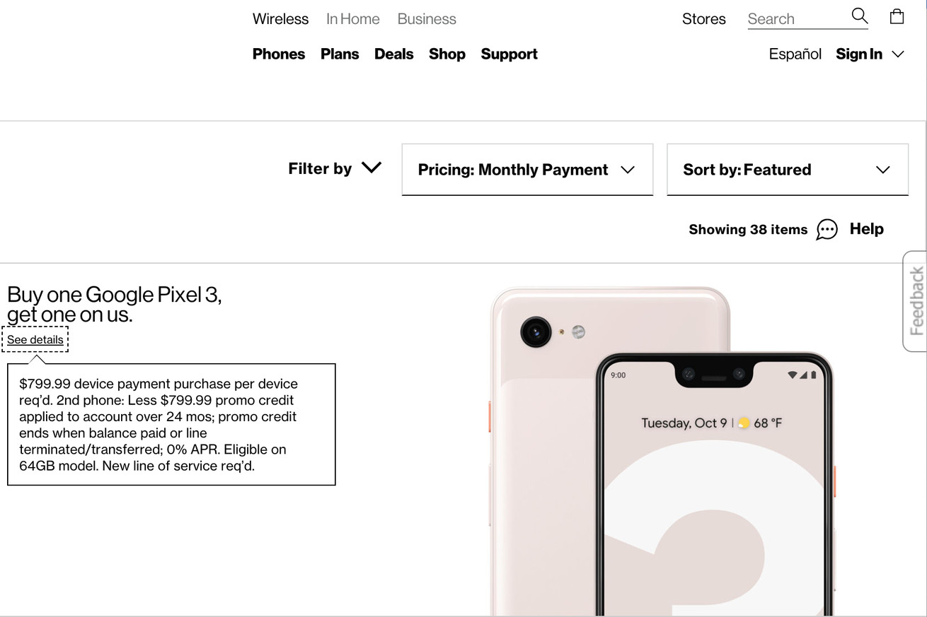 verizon suggests pixel 3 pricing will start at 799 99
