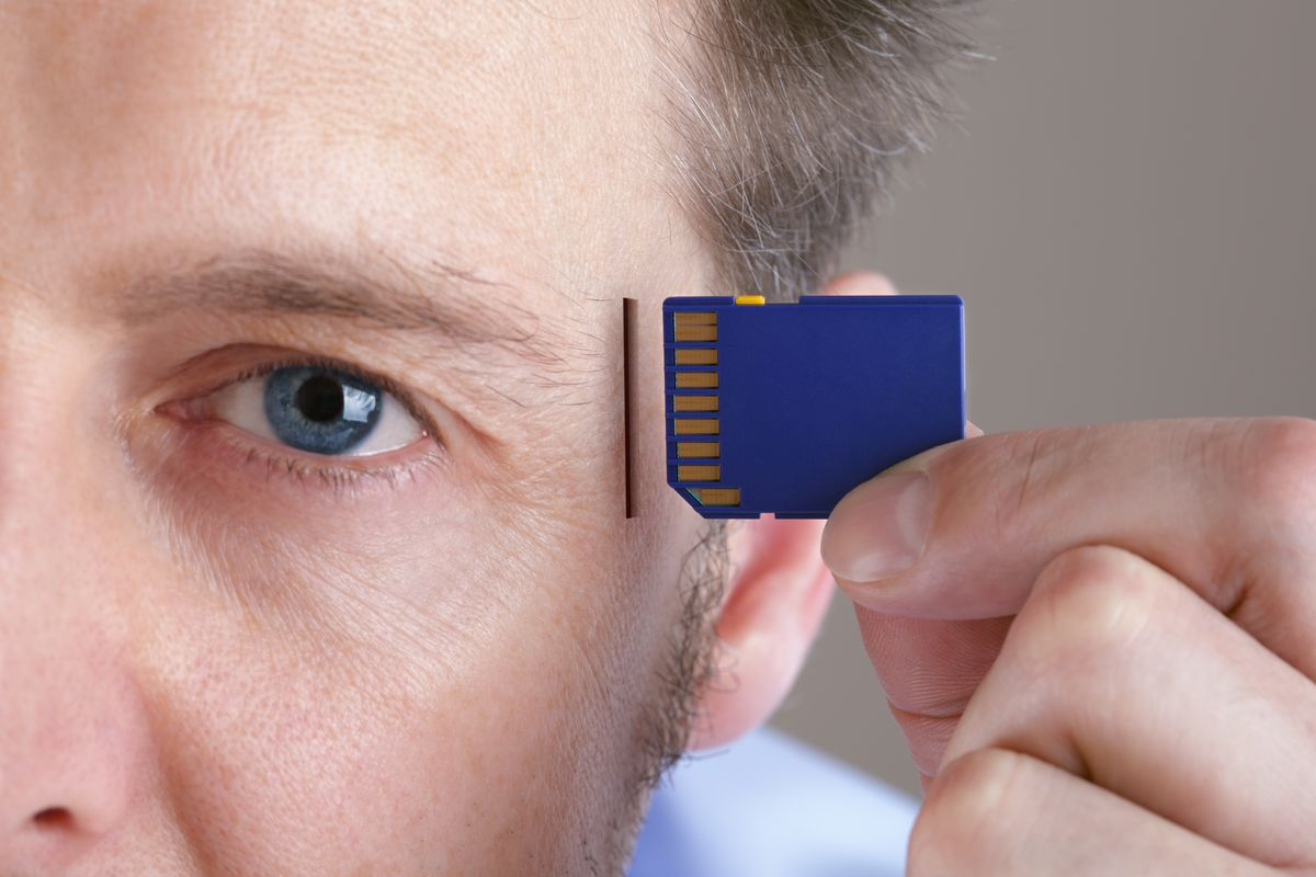 Man with memory chip