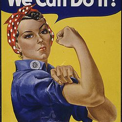 """This """"We can do it!"""" poster features the likeness of Geraldine Hoff Doyle at age 17."""