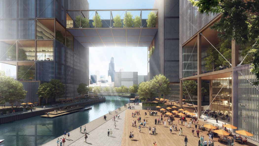 An architect's drawing of what Amazon's headquarters in Chicago could look like.