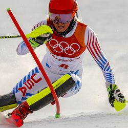 Mikaela Shiffrin, of the United States, skis during the first run of the women's slalom at the 2018 Winter Olympics in Pyeongchang, South Korea, Friday, Feb. 16, 2018.