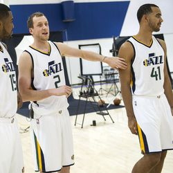 Utah Jazz forward Trey Lyles walks away from forward Joe Ingles during Media Day at Zions Bank Basketball Center in Salt Lake City on Monday, Sept. 26, 2016. Ingles teased University of Kentucky alumnus Lyles about Kentucky's perfect season until being eliminated by Wisconsin in the Final Four in 2015.