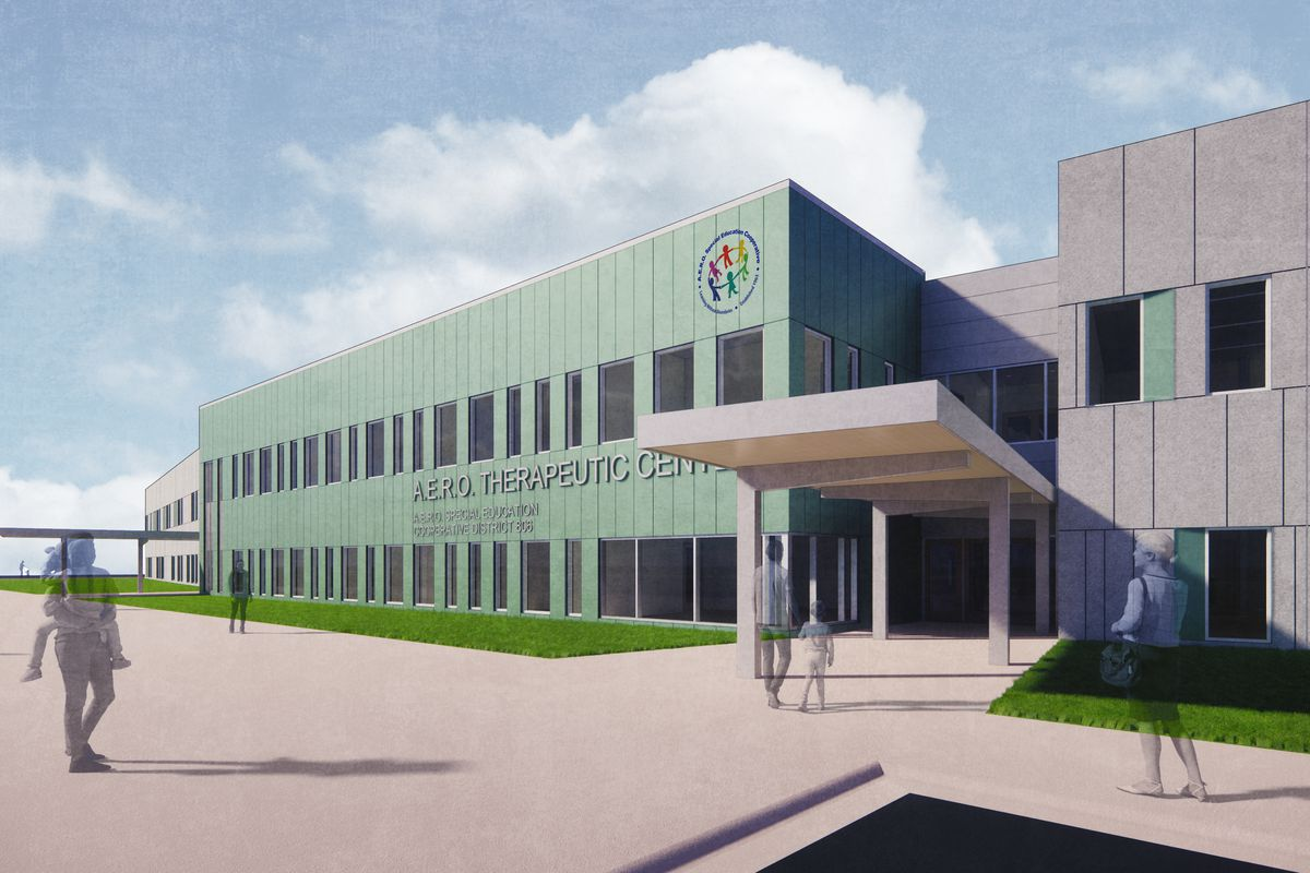 An architect's rendering of a $50 million school building for special ed students served by the southwest suburban A.E.R.O. Special Education Cooperative.
