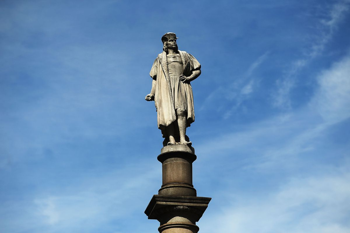 A statue of Christopher Columbus in New York City.