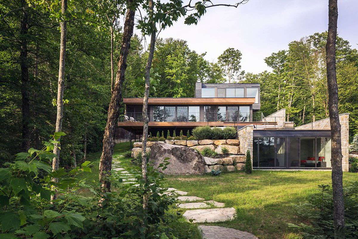 The Estrade Residence By MU Architecture Nestles On A Wood Site In Quebecs Laurentian Mountains Photos Ulysse Lemerise Bouchard Via Designboom