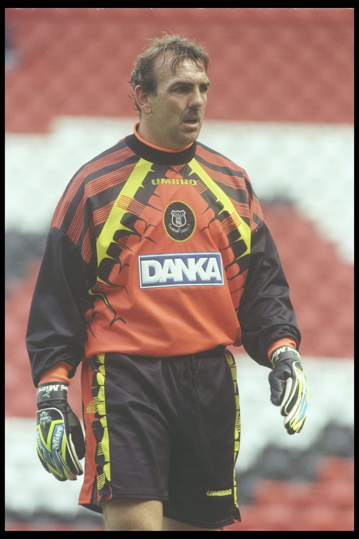 Neville Southall of Everton in action