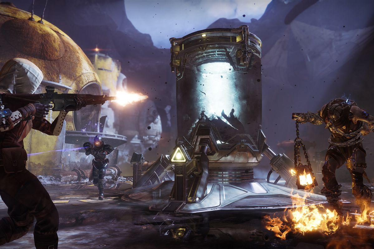 Destiny 2: Forsaken - a Guardian shooting enemies in the Gambit mode
